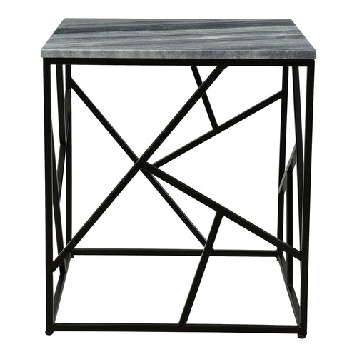 Small Lagom Marble Top Side End Table For Living Room - Modern Accent Table With Geometric Iron Base Legs