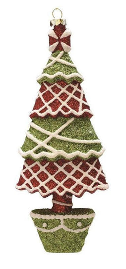 "7"" Merry & Bright Red  Green And White Glitter Shatterproof Christmas Tree Ornament"