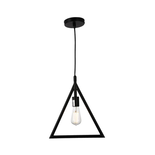 Triangle Shape Pendant Lighting Fixture, E26 Base, Matte Black Finish, UL Listed