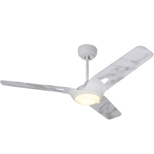 3 Blade, 1962 Lumens Smart Ceiling Fan with LED Light Kit & Remote - White/Marble Finish