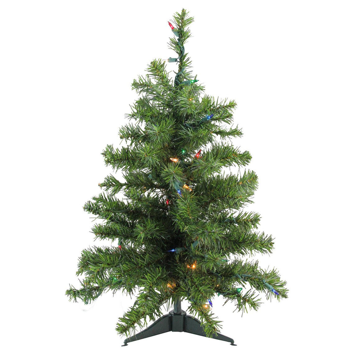 2' Pre-Lit Natural Two-Tone Pine Artificial Christmas Tree - Multi-Color Lights