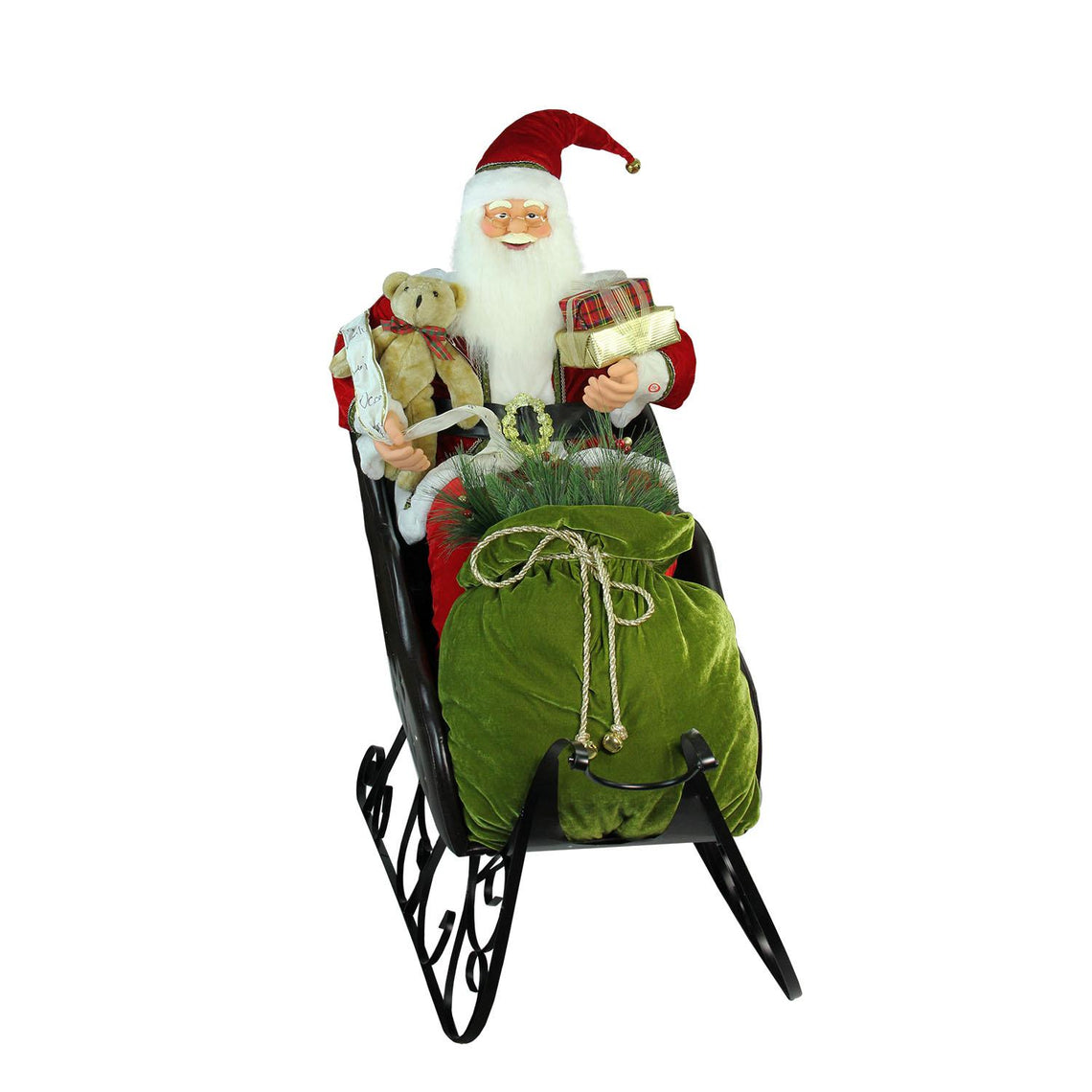 4' Deluxe Animated Musical Santa Claus in Jeweled Sleigh Christmas Decoration
