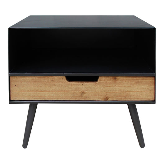 Milner 1 Drawer Side Table, Black, Industrial