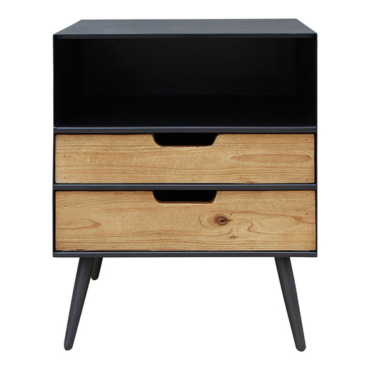 Milner 2 Drawer Side Table, Black, Industrial