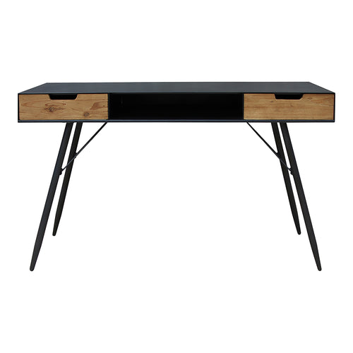 Milner Console Table With Storage In Black - Industrial Wood Console Tables