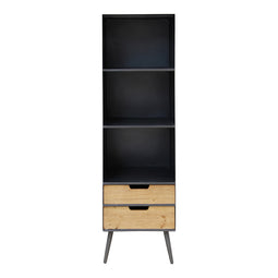 Milner Three Level Bookshelf, Black, Industrial