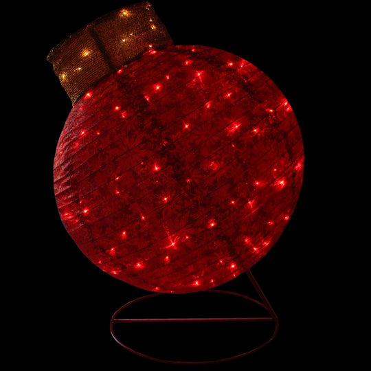 "36"" LED Lighted Twinkling Red Glitter Ball Ornament Christmas Outdoor Decoration"