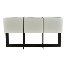 Modern Contemporary Console Table Drawers At Center in White And Black - Behind Sofa Table