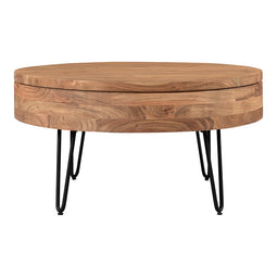Contemporary Modern Privado Storage Coffee Table - Round Wood Top Coffee Table