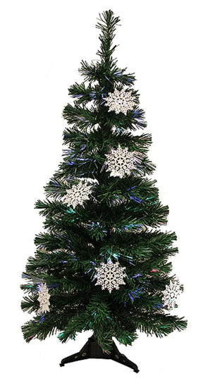 3' Pre-Lit Fiber Optic Artificial Christmas Tree with White Snowflakes - Multi Dak Gd-51090