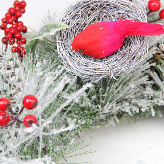 "24"" Berries and Red Cardinals in Nests Flocked Artificial Christmas Wreath - Unlit,"
