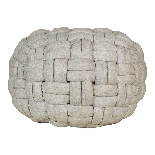 Pashmina Wool Bronya Pouf Transitional Knitted Ottoman For Mid Century In Light Gray