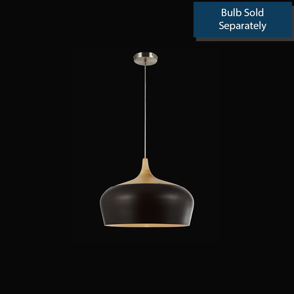 Ceiling Pan-Indoor Wood Pendant Lamp - Brush Nickel - Requires One (1) 60W Fluorescent Bulb (Not Included)
