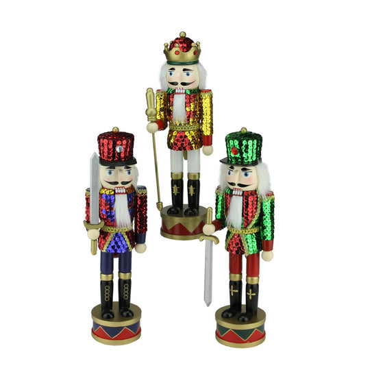 Set of 3 Decorative Wooden Sequin Jacket Christmas Nutcracker 14""