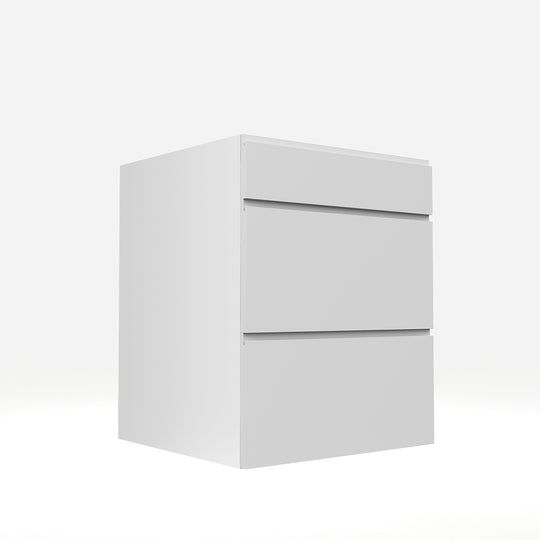 "24""W X 30""H Lacqure White Drawers Base Cabinet  With 3 Drawers"