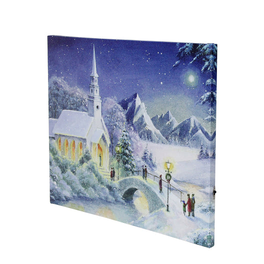 LED Fiber Optic Lighted Snow Covered Church Christmas Wall Art 15.75