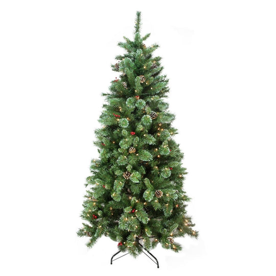 Pre-Lit Mixed Pine and Iridescent Glitter Medium Artificial Christmas Tree - Clear Lights