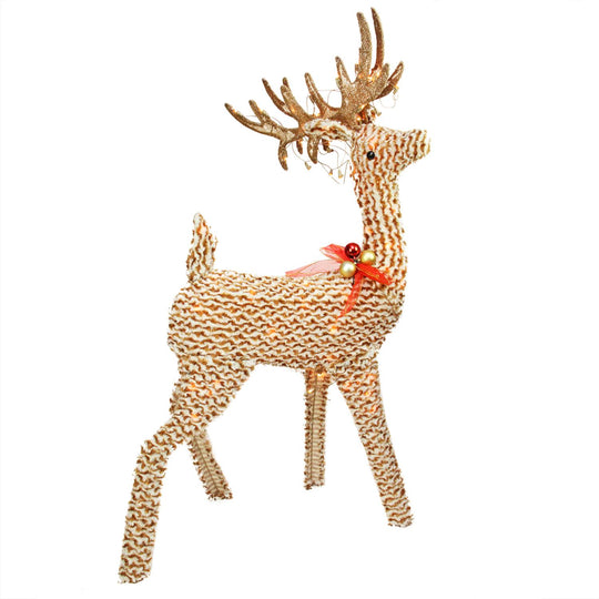 "48.5"" Pre-Lit Brown and White Striped Chenille Reindeer Outdoor Decoration"