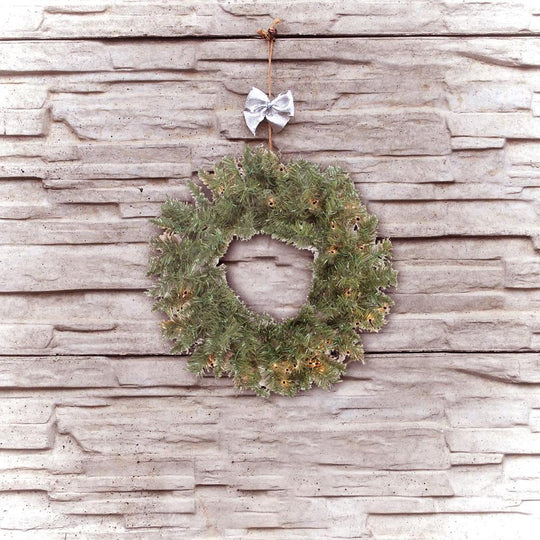 "24"" Pre-lit Minetoba Pine Artificial Christmas Wreath"