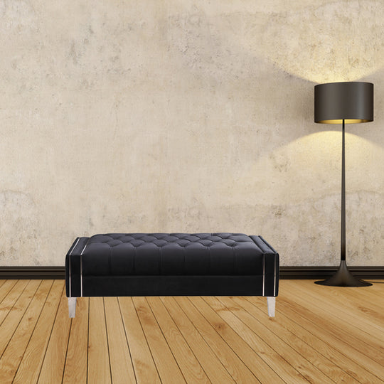 Alistair Ottoman Black Velvet- Black Contemporary Modern Ottoman In White Metallic Finish Footstool