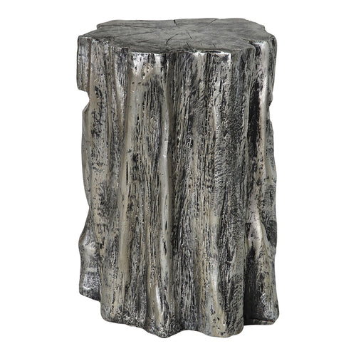 Trunk Stool - Antique Silver Nickel Ceramic Log | Moe's Furniture