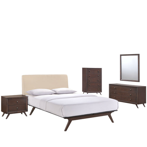 Tracy 5 Piece Queen Bedroom Set, Cappuccino Beige