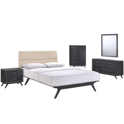 Addison 5 Piece Queen Bedroom Set, Black Beige