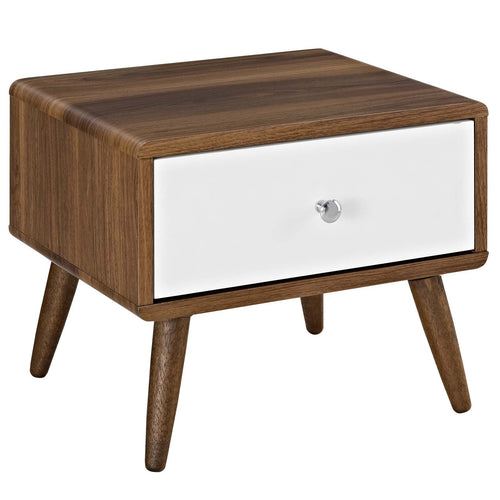 Mid-Century Modern Rustic Side Table Or TV Stand In Walnut - Unique End Tables In White Lacquer Drawer
