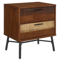 Walnut Modern Arwen Rustic  Rubberwood Nightstand - Side Table For Living Room With Non marking Footcaps