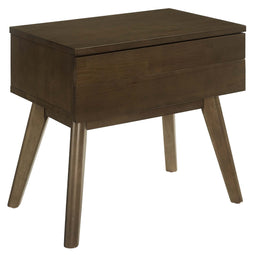 Everly Wood Nightstand in Streamlined Shape - Walnut Beside Table With Drawers