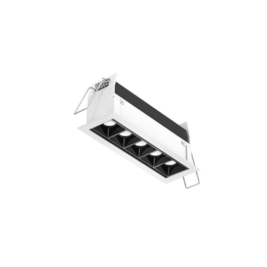 Recessed Linear Light with 5 Mini Spot Lights - Piano Black Reflector with White Trim