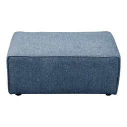 Rodeo Solid Pine Wood Footstool Ottoman In Navy Blue, 17 Inch H
