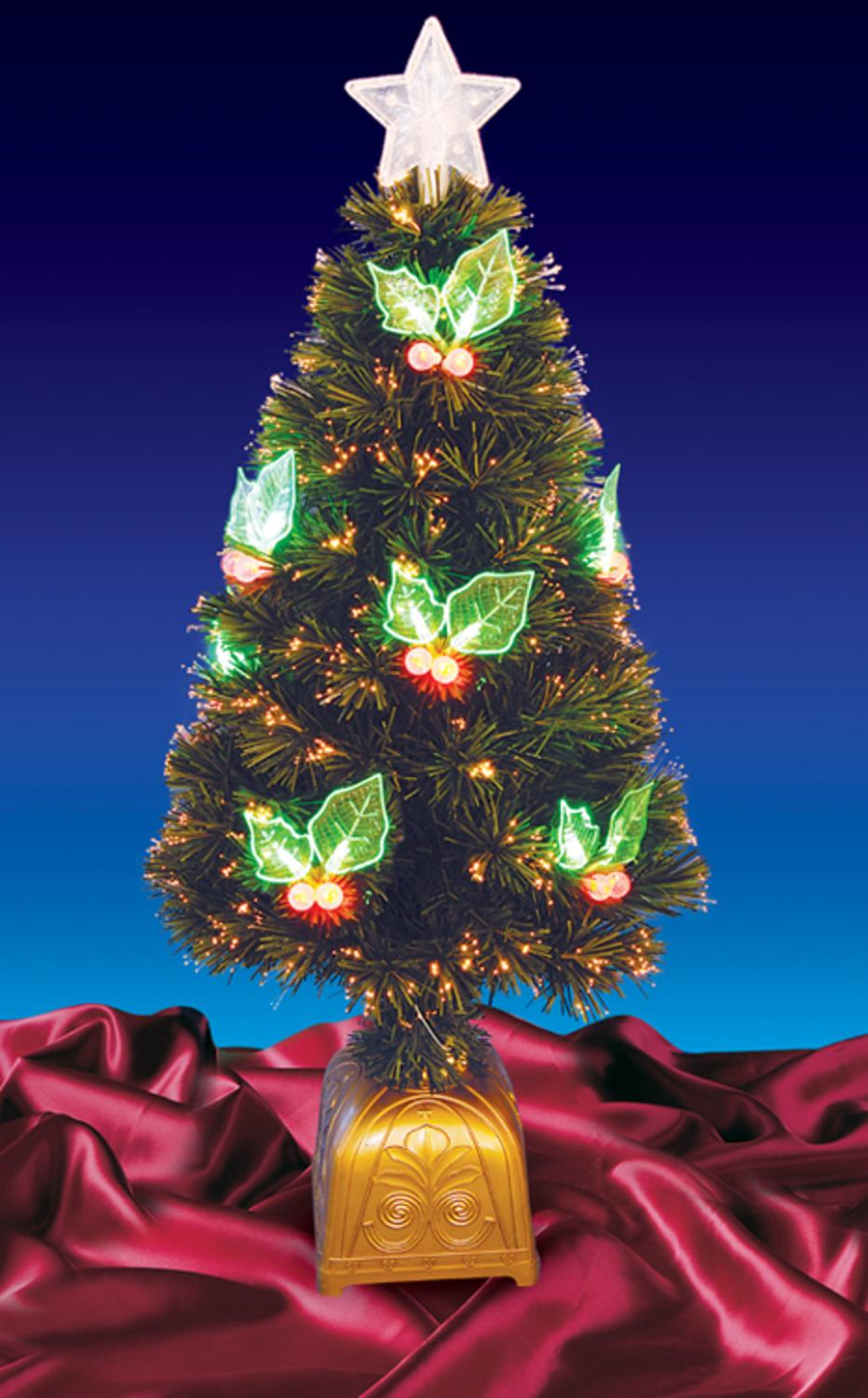4' Pre-Lit LED Color Changing Fiber Optic Christmas Tree with Holly Berries Dak Tn48S8Rglv