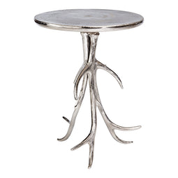 Contemporary Modern Aluminum Base Willow End Table - Modern Entryway Accent Table In 21 Inch H