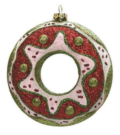 "4"" Merry & Bright Green  Red And White Glittered Shatterproof Doughnut Christmas Ornament"
