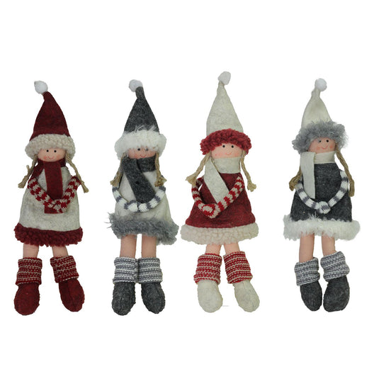 Set of 4 Plush Red  Gray  and Beige Girls Christmas Doll Ornaments 12