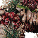 "Load image into Gallery viewer, 10.25"" Dusty Rose Pine Cones and Berries Artificial Christmas Wreath - Unlit"