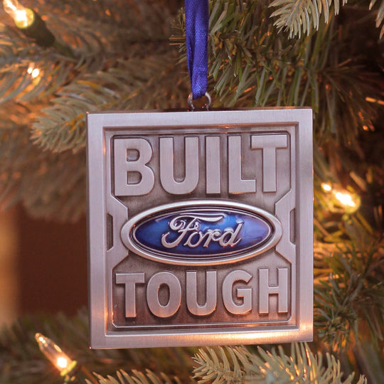 "3"" Officially Licensed ""Built Ford Tough"" Brushed Nickel Plated Christmas Tree Ornament"