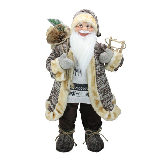 "24"" Natural Country Rustic Standing Santa Claus Christmas Figure with Sled"