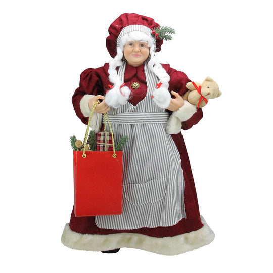 "24"" Mrs. Claus the Chef Standing Christmas Figure with Teddy Bear and Bag of Treats"
