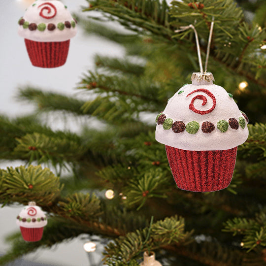 Merry & Bright Red  White And Green Glitter Shatterproof Cupcake Christmas Ornament 3.25""
