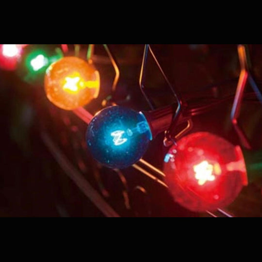 10 Transparent Multi-Colored G40 Globe Christmas Lights - 9ft Green Wire