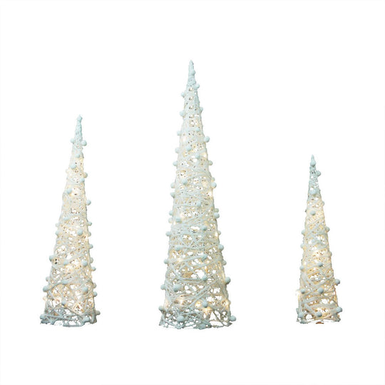 Set of 3 Battery Operated White and Silver Glittered LED Lighted Cone Tree Christmas Decoration 39.25""
