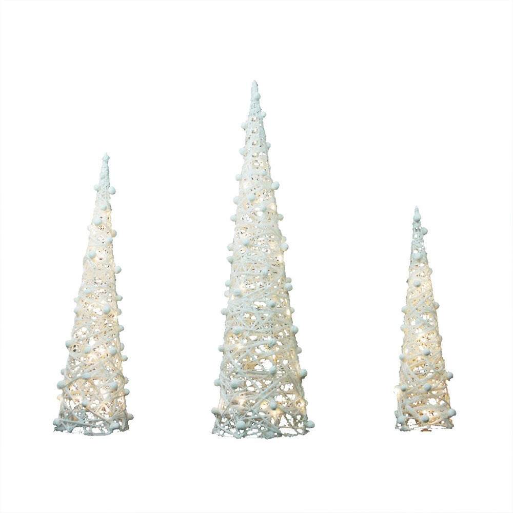 Set of 3 Battery Operated White and Silver Glittered LED Lighted Cone Tree Christmas Decoration 39.25
