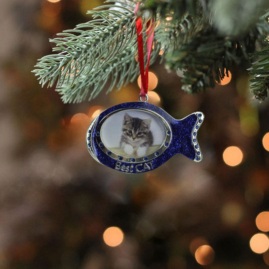 "3"" Regal Shiny Silver Plated Blue ""Best Cat"" Fish Picture Ornament With European Crystals"