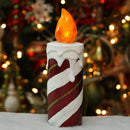"Load image into Gallery viewer, 9.75"" LED Lighted Festive Candy Cane Striped Candle Christmas Decoration"
