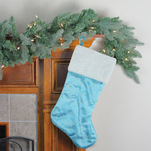 "Load image into Gallery viewer, 21"" Blue and White Glitter Snowflake Christmas Stocking with White Faux Fur Cuff"