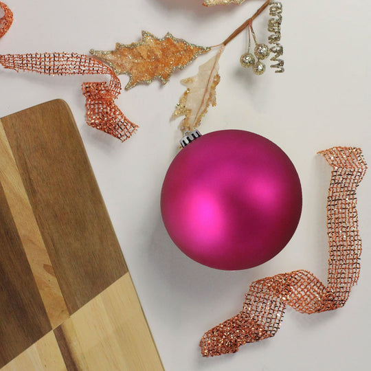"Shatterproof Matte Pink Magenta Uv Resistant Commercial Christmas Ball Ornament 6"" (150Mm)"