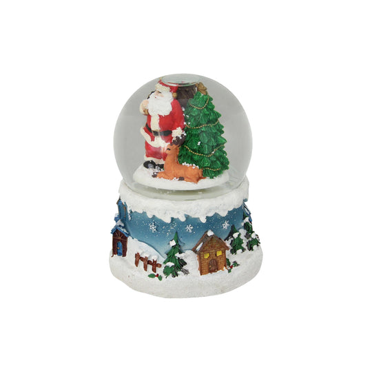 "6"" Musical Santa Claus with Christmas Tree and Reindeer Snow Globe"