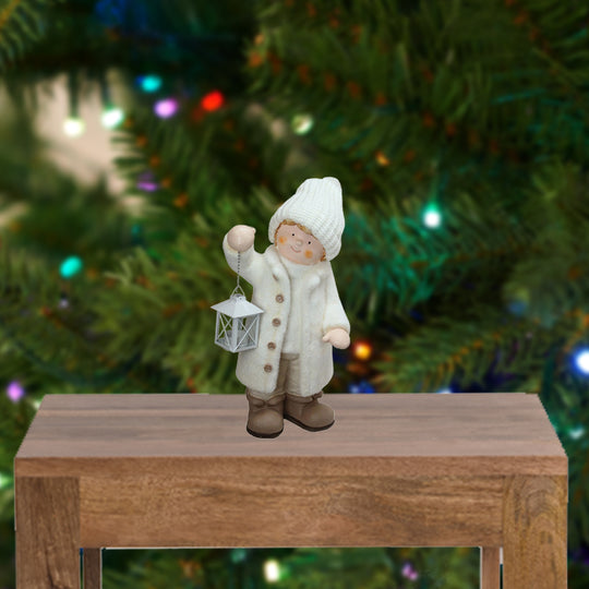 "18"" Winter Boy in White Holding a Tealight Lantern Christmas Table Top Figure"